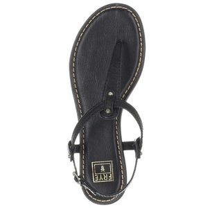 Frye Carson T-Strap Black Leather Thong Sandal